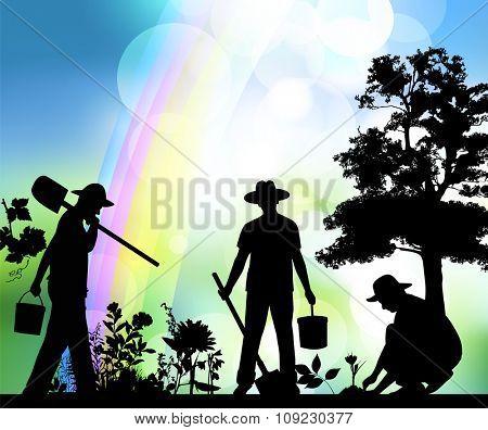 Silhouette of farmer.