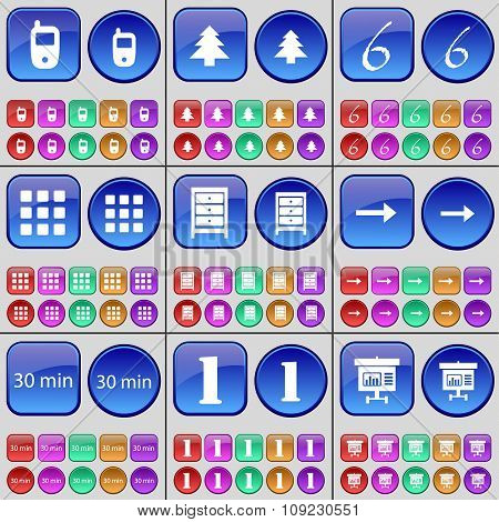 Mobile Phone, Fir Tree, Six, Apps, Archive, Arrow Right, 30 Minutes, One, Graph. A Large Set Of
