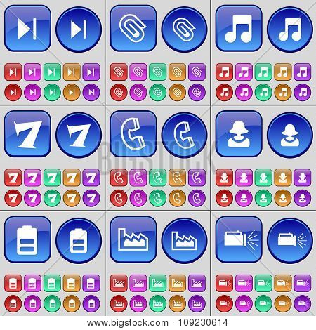 Media Skip, Clip, Note, Seven, Receiver, Avatar, Battery, Graph, Flashlight. A Large Set Of Multi-