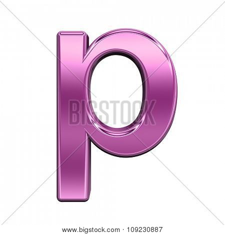 One lower case letter from shiny pink alphabet set, isolated on white. Computer generated 3D photo rendering.