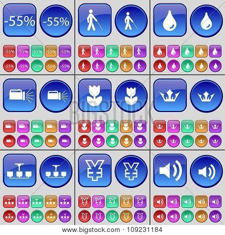 Discount, Folder, Crown, Chandelier, Yen, Sound. A Large Set Of Multi-colored Buttons.