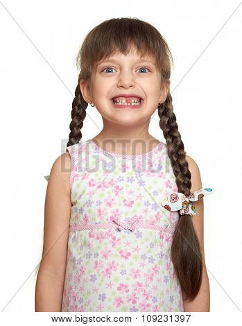 lost tooth girl portrait, studio shoot on white background