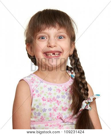 happy lost tooth girl portrait, studio shoot on white background