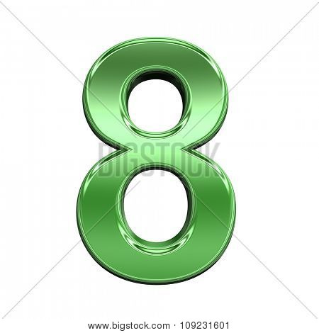 One digit from shiny green alphabet set, isolated on white. Computer generated 3D photo rendering.