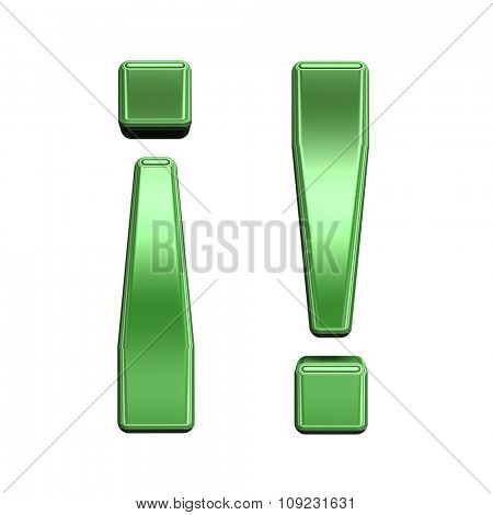 Exclamation mark from shiny green alphabet set, isolated on white. Computer generated 3D photo rendering.