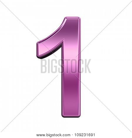 One digit from shiny pink alphabet set, isolated on white. Computer generated 3D photo rendering.