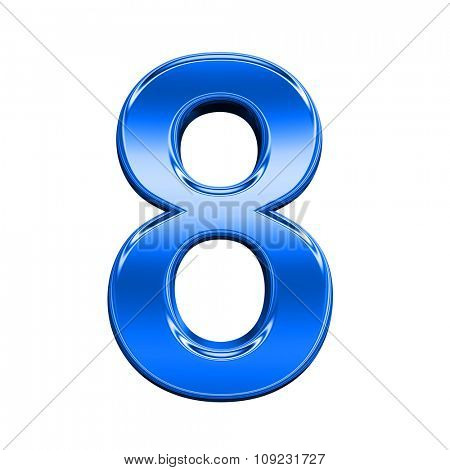 One digit from shiny blue alphabet set, isolated on white. Computer generated 3D photo rendering.