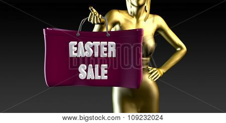 Easter Sale with a Lady Holding Shopping Bags