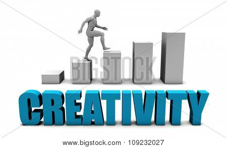 Creativity 3D Concept  in Blue with Bar Chart Graph