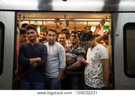 Crowded Subway In The Rush Hour
