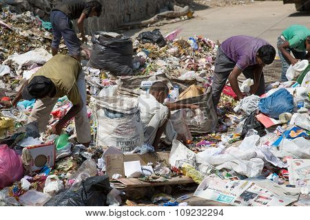 People Looking For Something In The Garbage