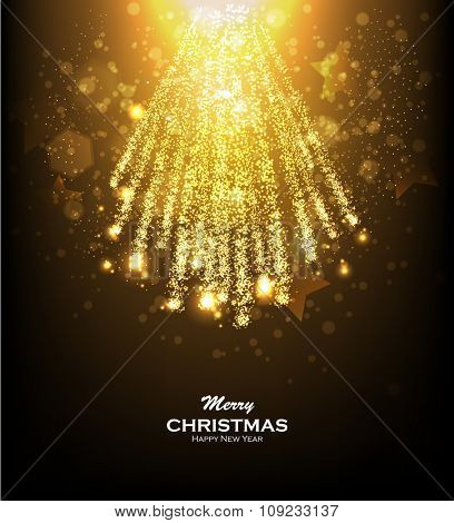 Gold glittering bokeh stars dust. Christmas background with gold magic star. Blurred Christmas Lights for Xmas Holiday Design. Elegant Christmas background. Festive fireworks