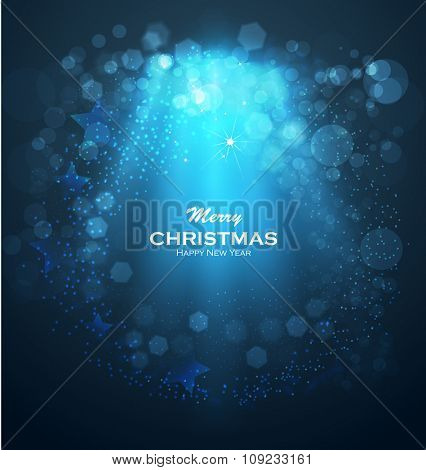 Blue glittering bokeh stars dust. Christmas background with gold magic star. Blurred Christmas Lights for Xmas Holiday Design. Elegant Christmas background. Festive fireworks