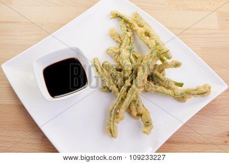 Green Beans Tempura With Dipping Sauce