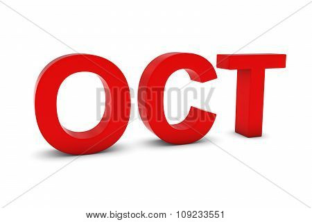 Oct Red 3D Text - October Month Abbreviation On White