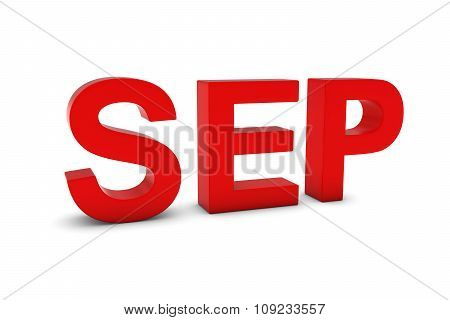 Sep Red 3D Text - September Month Abbreviation On White
