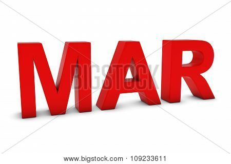 Mar Red 3D Text - March Month Abbreviation On White