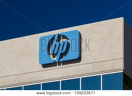 Hewlett-packard Corporate Logo And Sign.