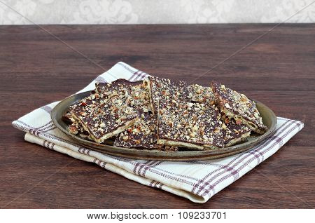 Chocolate And Nut Cracker Cookies With Copy Space.