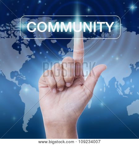 hand pressing community sign button. business concept