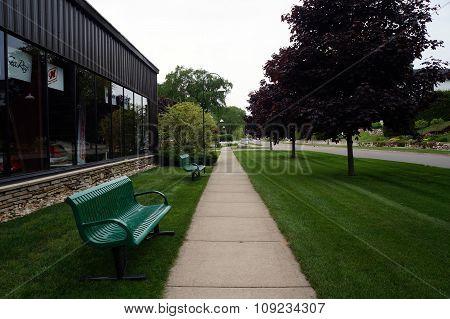 Benches along Bay Street Sidewalk