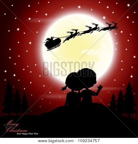 Boys and girls see Santa Claus riding a sleigh pulled by reindeer with the moon as a background