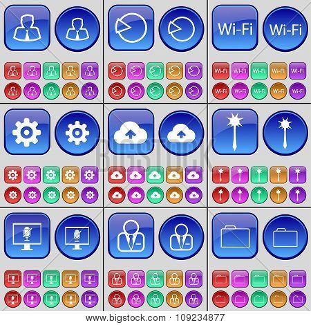 Avatar, Diagram, Wi-fi, Gear, Cloud, Mace, Monitor, Avatar, Folder. A Large Set Of Multi-colored