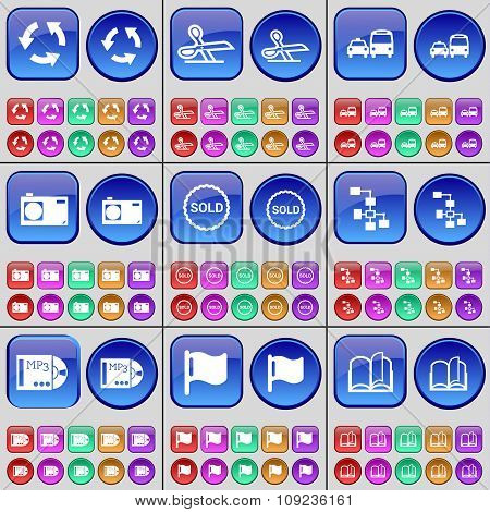 Recycling, Scissors, Transport, Camera, Sold, Network, Mp3, Flag, Book. A Large Set Of Multi-