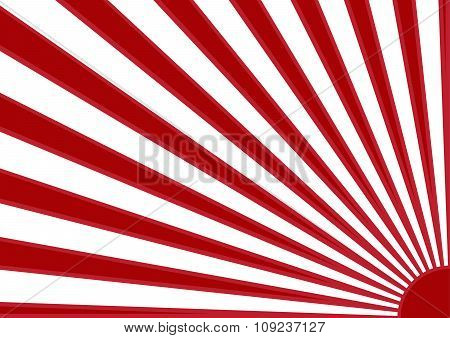 Red Sun With Ray On White Background Japan Flag Style. Vector Illustration.