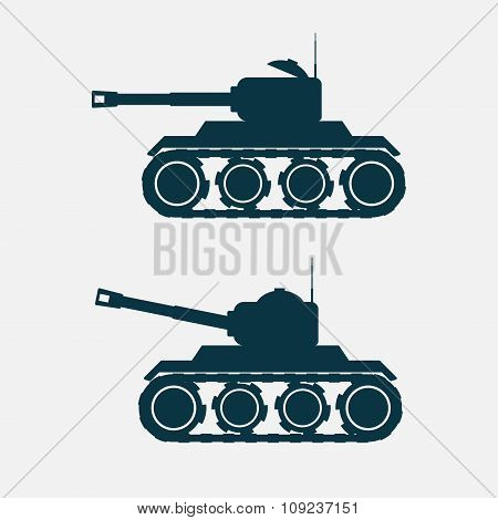 Tank Car With Cannon. Vectorillustration.
