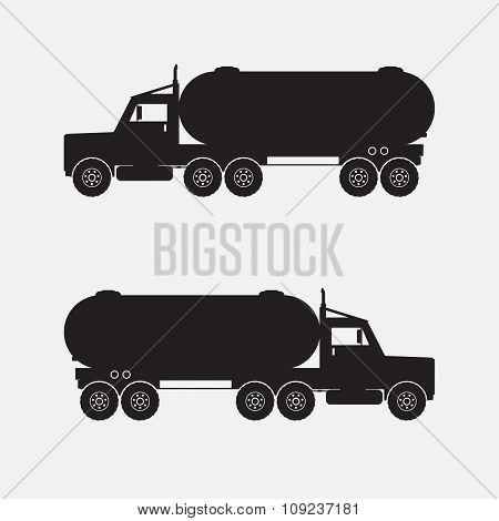 Heavy Truck With Chemical Tank Black Color. Vector Illustration.