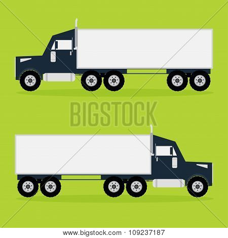 Container Traiker Truck On Green Background With Shadows. Vector Illustration.