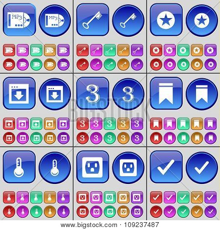 Mp3, Key, Star, Window, Three, Marker, Thermometer, Socket, Tick. A Large Set Of Multi-colored