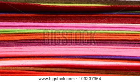 Piles Of Colored Felt For Hobbyists And Decorators In Wholesale