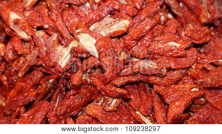 Red Tomatoes Dried In The Market