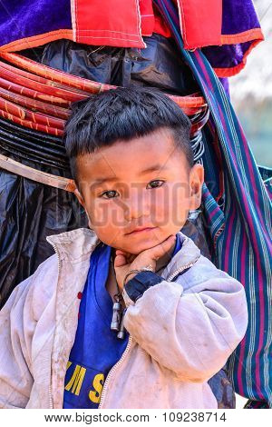 Chiang Mai, Thailand - 2015 November 05: Portrait Of Unidentify Palaung Ragged Boy, Palaung Tribes L