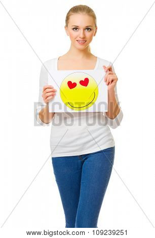 Young girl in jeans with love theme poster isolated