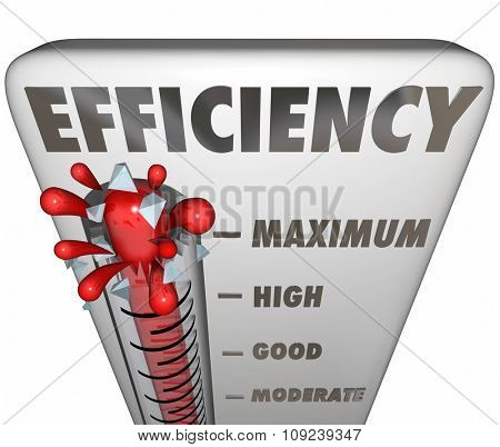Efficiency word on thermometer measuring your level of effective or productive work