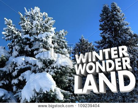 Winter Wonderland words near snow covered trees for outdoor or outside seasonal recreation