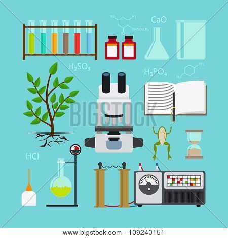 Biology laboratory icons