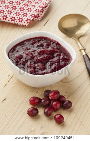 Homemade cranberry sauce with fresh cranberries