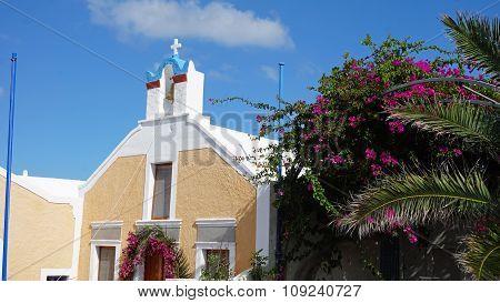 Traditional Church In Small Village Oia On Santorini