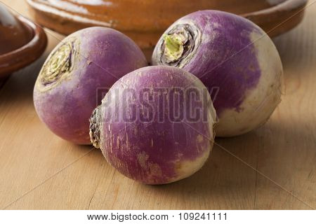 Fresh raw white turnips