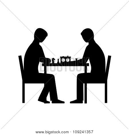 People playing chess vector silhouettes