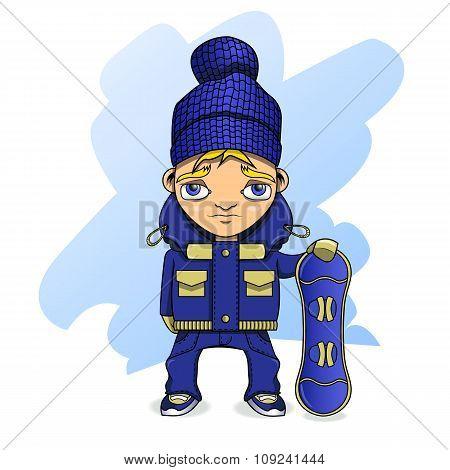 Teen Athlete Snowboarder In Sportswear Holding A Snowboard.