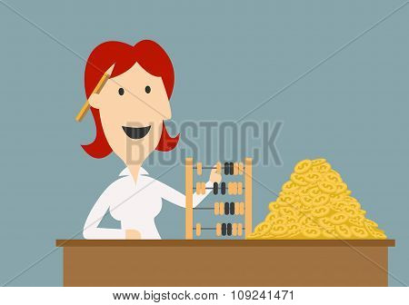 Businesswoman counting gold coins with abacus