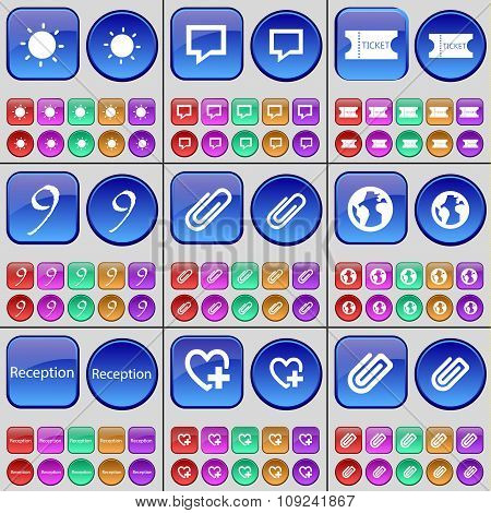 Light, Chat Bubble, Ticket, Nine, Clip, Earth, Reception, Heart, Clip. A Large Set Of Multi-