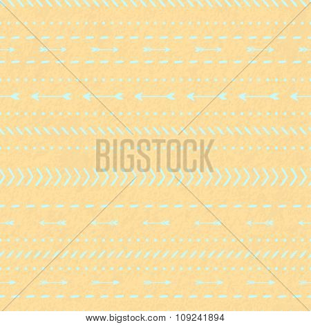 Modern Seamless Blue Tribal Ethnic Pattern With Arrows On A Watercolor Kraft Paper Background
