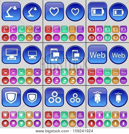 Lamp, Heart, Battery, Monitor, Sms, Web, Shield, Gear, Scooter. A Large Set Of Multi-colored