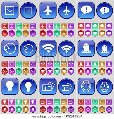 Arrow Down, Airplane, Chat Bubble, Diagram, Wi-fi, Ship, Light Bulb, Picture, Wrist Watch. A Large
